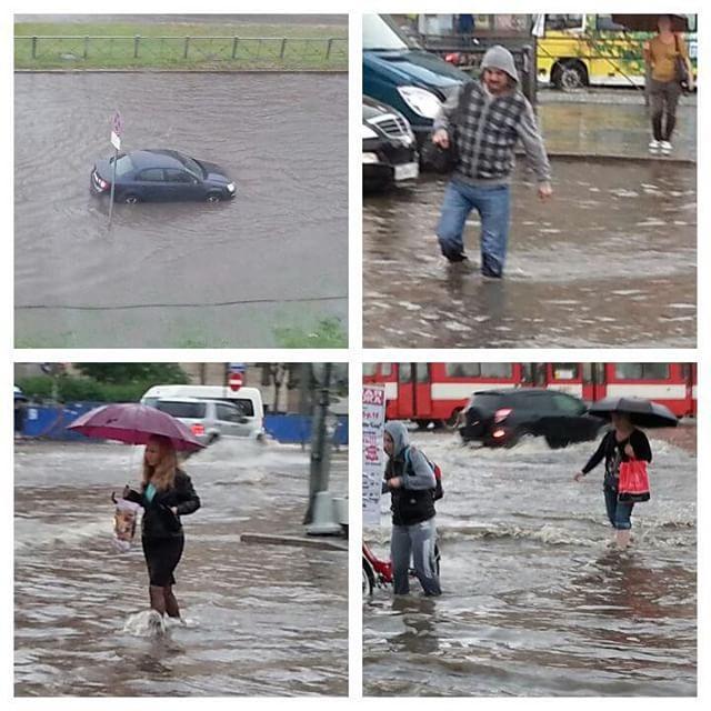 На Петербург обрушились сильный ливень и град