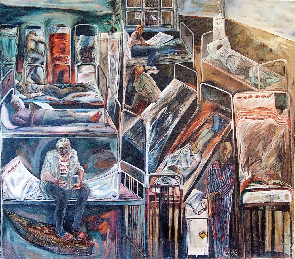 Палата №6, Холст, масло, 126х144, 1986, Иванов Леонид