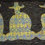 Выставка Молдакула Нарымбетова. Черные вихри на синем или зелено-голубом фоне.